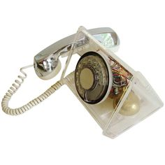 """Scarce American Space Age, """"La Belle"""" Clear Rotary Telephone by TeleConcepts 