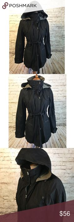 da2c51ff5ecca Jones New York Black Utility Jacket Hooded Belt M