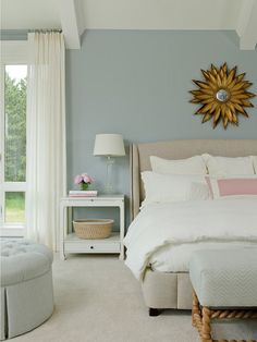 Family Home Interior IdeasMirror above bed is Sterling Industries 55-216 Brackenhead In Cambelside Gold – $205 on Amazon.