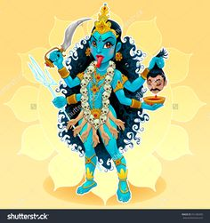 "Buy the royalty-free Stock vector ""Kali goddess. Funny representation of eastern god, vector cartoon"" online ✓ All rights included ✓ High resolution vec. Kali Hindu, Hindu Art, Kali Mantra, Happy Navratri Images, Durga Painting, Lord Ganesha Paintings, Durga Images, Lord Shiva Family, Kali Goddess"