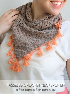 Tasseled Crochet Neckerchief - free crochet scarf pattern. I love those coral tassels!