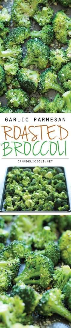 Garlic Parmesan Roasted Broccoli - This comes together so quickly with just 5 min prep. Plus, it's the perfect and easiest side dish to any meal! #gluten_free #gf #recipe