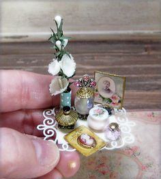 1:12 Miniature Dollhouse Artisan Vanity Tray Vintage Cameo Brooch Antique Photo