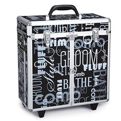 Top Performance Grooming Tool Cases with Wheels - Durable and Versatile Aluminum Cases Designed for the Storage of Grooming Tools and Supplies for the Professional Pet Groomer, Graffiti Black, As Shown