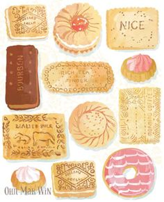 Favourite Biscuits by Ohn Mar Win Illustration: selection of British favourites including custard cream, bourbon, malted milk, nice, rich tea and shortcake. English Biscuits, Tea Biscuits, Illustration Noel, Watercolor Illustration, Iced Gems, Rich Tea, Pinterest Instagram, Watercolor Food, Watercolour Painting