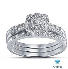 1.64CT Round Cut D/VVS1 Diamond With Frame In 925 Silver 3-Piece Bridal Ring Set #Affoin8