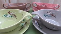 James Kent 'Old Foley' Soup Bowls. Pink Dishes, Complimentary Colors, Retro Chic, Vintage Gifts, Kitchen Retro, Mid Century, Soup Bowls, Plates, Retro