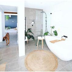 Wow! We're huge fans of this bathroom 😍 Get the look with Designer Tile Company's Walker Grey 300x600mm Glazed Porcelain Tile. 📸 …