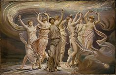 The Pleiades (1885) - Elihu Vedder; The Pleiades (Maia, Electra, Taygete, Alcyone, Celaeno, Sterope/Asterope, Merope) were the 7 daughters of the titan Atlas & the sea-nymph Pleione. Several Olympian gods engaged in affairs with the sisters. After Atlas was forced to carry the heavens on his shoulders, Orion began to pursue the Pleiades. Zeus transformed them into stars to comfort their father. The constellation of Orion is said to still pursue them across the night sky.
