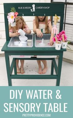 This contains: Girls playing with water at DIY water and sensory table Decorating Your Home, Diy Home Decor, Sand Table, Sensory Table, Boredom Busters, Outdoor Play, Home Projects, More Fun, Diy Furniture