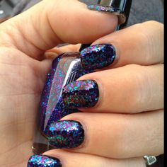"I used Black nail polish as the base coat and then I painted a nail color by Milani called ""twinkle"" which is blue and purple glitter."