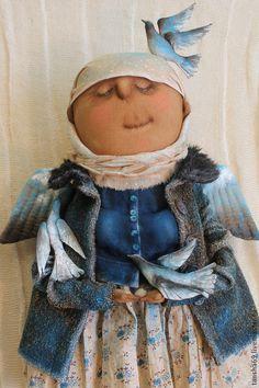 Купить Божьи птахи... - синий, текстильная кукла, ароматизированная кукла, интерьерная кукла, ангел, ткань