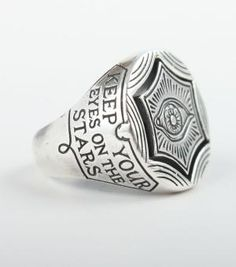 Keep your feet on the ground; keep your eyes on the stars ring - catbird