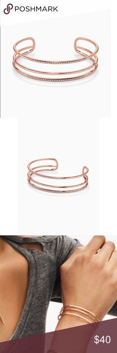 Stella and Dot Rose Gold Pave Cuff Bought from Stella and Dot (Still available on their site so check there to get any info!) never worn. Comes with box. I do not trade. Stella & Dot Jewelry Bracelets