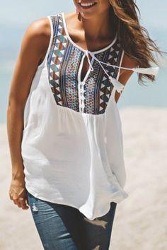 Stylish White Sleeveless Tribal Embroidered Women's Tank Top