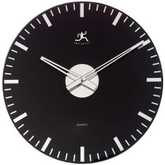 Infinity Instruments Black and Mirrored Glass 14.12 Inch Wall Clock - Wall Clocks at Hayneedle