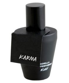 Karma by LUSH Smells like incense and sweet tarts!  orange, lavender and lemongrass; middle notes are pine tree, lemon and cassis; base notes are patchouli, fir resin, elemi and cinnamon.