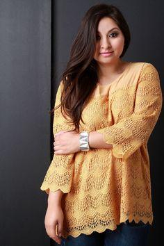 Contrast Semi-Sheer Crochet Lace Long Sleeve Top