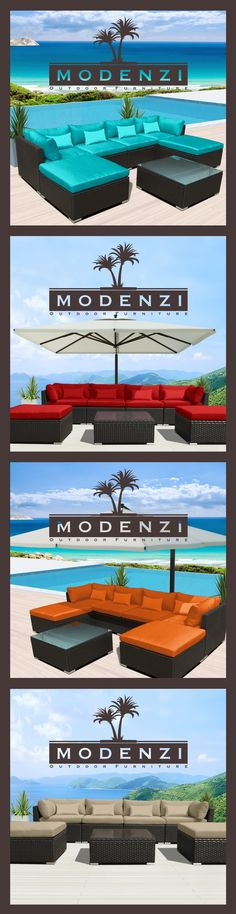 For a Limited time @ $649 Including shipping Modern Modenzi 7C-U Outdoor Sectional Patio Furniture Espresso Brown Wicker Sofa Set (Turquoise)