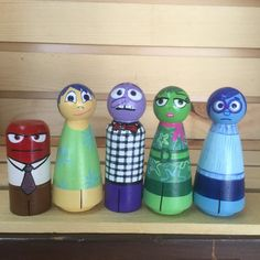 Inside Out Feelings set of 5- hand painted wood peg people peg doll, Birthday Cake Topper