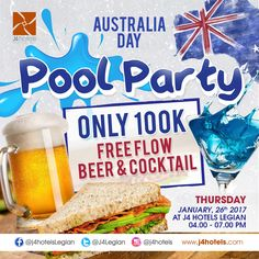Join us in celebrating Australia Day! 🍻 #J4Hotels #LegianHotel #HotelLegianBali #RoofTopPool #Beer #Cocktail #LifestyleHotel #Lifestyle #HotelBali #Holiday #InstaTravel #Vacation #LegianBali #Wanderlust #Destination #LegianStreet #RoofTopSwimmingPool #Bali #NightClub #HappyHour #Traveler #Backpacker #Party #AustraliaDay #FreeFlow #PoolParty