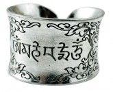Om Mani Padme Hum White Metal Ring
