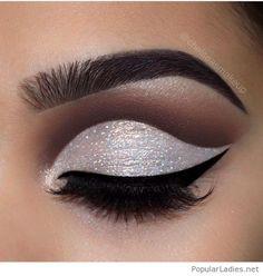 Glam white glitter eye makeup