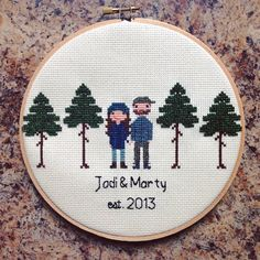 Custom Family Portrait Cross Stitch  Birth by NoBasicStitches