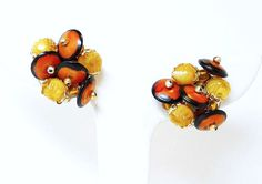 Vintage Beaded Clip-On Earrings - Signed Hong Kong - Orange Black and Yellow Modernist #Jewelry #Vintage #Fashion