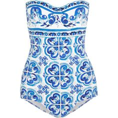 Dolce & Gabbana Printed underwired swimsuit (€695) ❤ liked on Polyvore featuring swimwear, one-piece swimsuits, swimsuits, bikinis, bathing suits, dolce & gabbana, blue, one piece swimsuits, bikini swimwear and underwire swimsuits