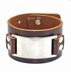 Men S Leather Cuff Bracelet In Silver Alloy By Casejewelrybracelet 9 00 Mens Bracelets