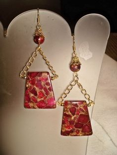 Red Jade & Gold Dangle Earrings Christmas by MicheladasMusings