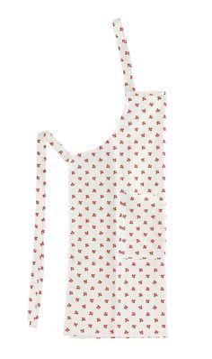 Förkläde i 100% bomull, vit/röd. Helt i Fair Trade.