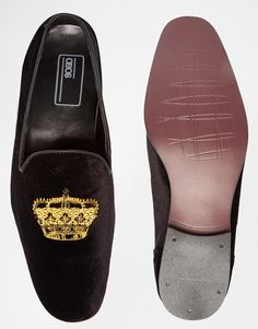 b6cd8997262 Image 3 of ASOS Loafers in Black Velvet With Crown Embroidery Asos Loafers