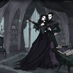 Lord Voldemort gives Bellatrix some Dark Arts lessons Oh that feeling, when people commissioned something really interesting!