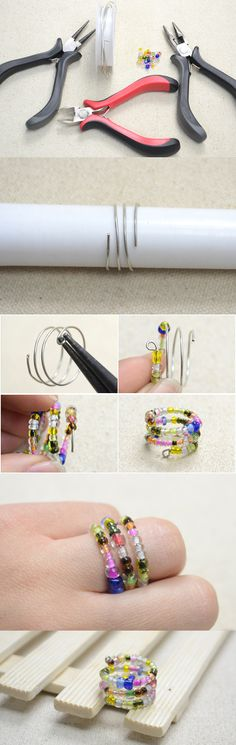Free Project on Making a Multi-Strand Ring with Colorful Seed Beads Diy Bracelets And Earrings, Seed Bead Bracelets, Seed Bead Earrings, Seed Beads, Bugle Beads, Teen Jewelry, Wire Jewelry, Jewelry Crafts, Beaded Jewelry