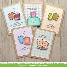 Lawn Fawn Release Week: Let's Toast Birthday Cards For Friends, Happy Birthday Cards, Diy Birthday, Love Cards, Diy Cards, Paper Cards, Tarjetas Diy, Matchbox Crafts, Lawn Fawn Stamps