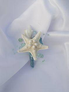 Aqua blue sea shell boutonniere, beach wedding boutonniere, spa blue boutonniere, coastal wedding corsage, starfish corsage