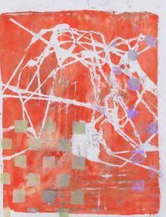 """Orange Gray String Square"" by Sharon Giles acrylic monoprint Orange Grey, Gray, Gelli Printing, Contemporary Art, Quilting, Abstract, Prints, Design, Summary"
