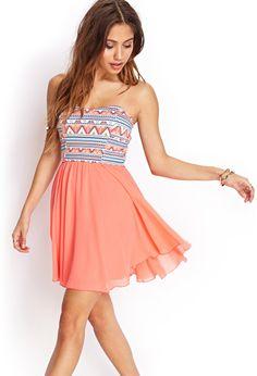 Tribal Print Strapless Dress   FOREVER21 #SummerForever