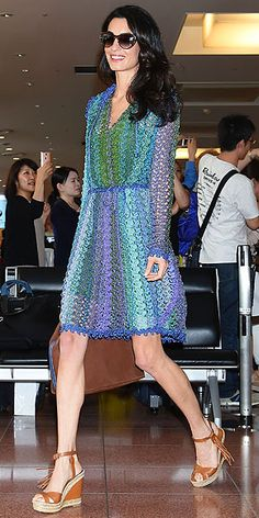 Love Her Outfit! Star Style to Steal | AMAL CLOONEY | Multicolored sundress. Neutral wedges. Fabulous blowout. There's your three-step plan to weekend style Nirvana.