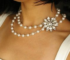 Vintage Style Wedding Necklace, Rhinestone Bridal Jewelry, Ivory White Pearl Necklace, Rhinestone Flower Bridal Necklace, FOREVER in BLOOM. $118.00, via Etsy.