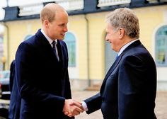 The Duke of Cambridge is welcomed by the President of the Republic Sauli Niinistö    29 November 2017