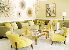 Warm yellows showcase a 70s retro look along with a tinge of Hollywood Regency