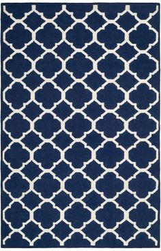 $5 Off when you share! Safavieh Dhurries DHU627D Navy Ivory Rug | Contemporary Rugs #RugsUSA