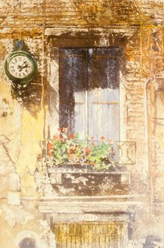 """balcony with clock castello venice 30"""" x 22"""" micheal zarowsky / watercolour on arches paper (private collection)"""