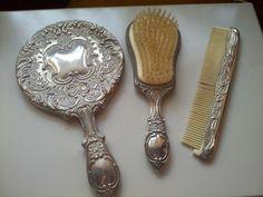 Vintage Silver Vanity 3 piece set (comb, mirror and brush) Silver Vanity, Antique Vanity, Dresser Sets, Dresser With Mirror, Vintage Silver, Antique Silver, Dressing Table Set, Mirror Set, The Good Old Days