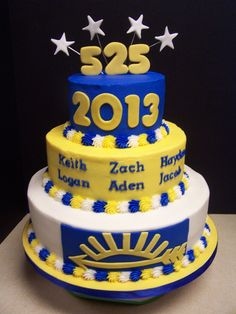 "Congratulations to the boys in Cub Scout Pack 525 who earned their Arrow of Light award last night. Zach, Logan, Hayden, Keith, Jacob, and Aden worked very hard to earn the highest award in Cub Scouts, and we helped them celebrate with cake! 12"", 9"", and 6"" tiers with buttercream and fondant accents."