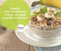 Granola fica uma delícia com frutas, com iogurte e até com sorvete! Seja no café da manhã ou em um lanche no meio da tarde, inclua já na sua alimentação.