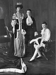 Consuelo Vanderbilt | Portrait of John Albert Edward William Spencer-Churchill, Marquess of Blanford; Consuelo, Duchess of Marlborough; and Lord Ivor Churchill at coronation of King George V. Lafayette Portrait Studio. London, England (Aug 1911). Royals. Edwardian. Coronation.
